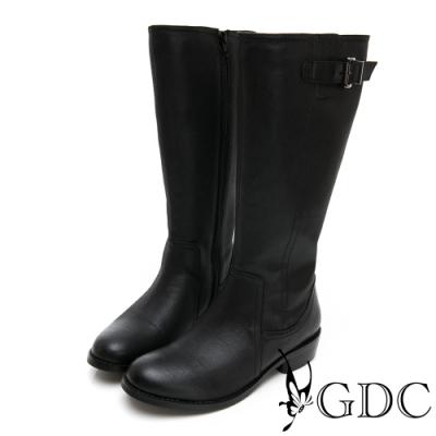 GDC-歐美基本素色側扣飾抓皺長靴-黑色