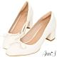 Ann'S法式優雅-油皮細緻蝴蝶結粗跟方頭跟鞋-米白 product thumbnail 1
