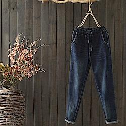 寬鬆繫帶純棉牛仔休閒哈倫褲-K1319-設計所在