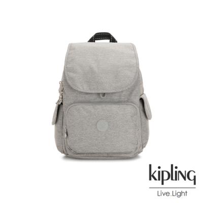 Kipling 清新柔和丹寧灰拉鍊掀蓋後背包-CITY PACK