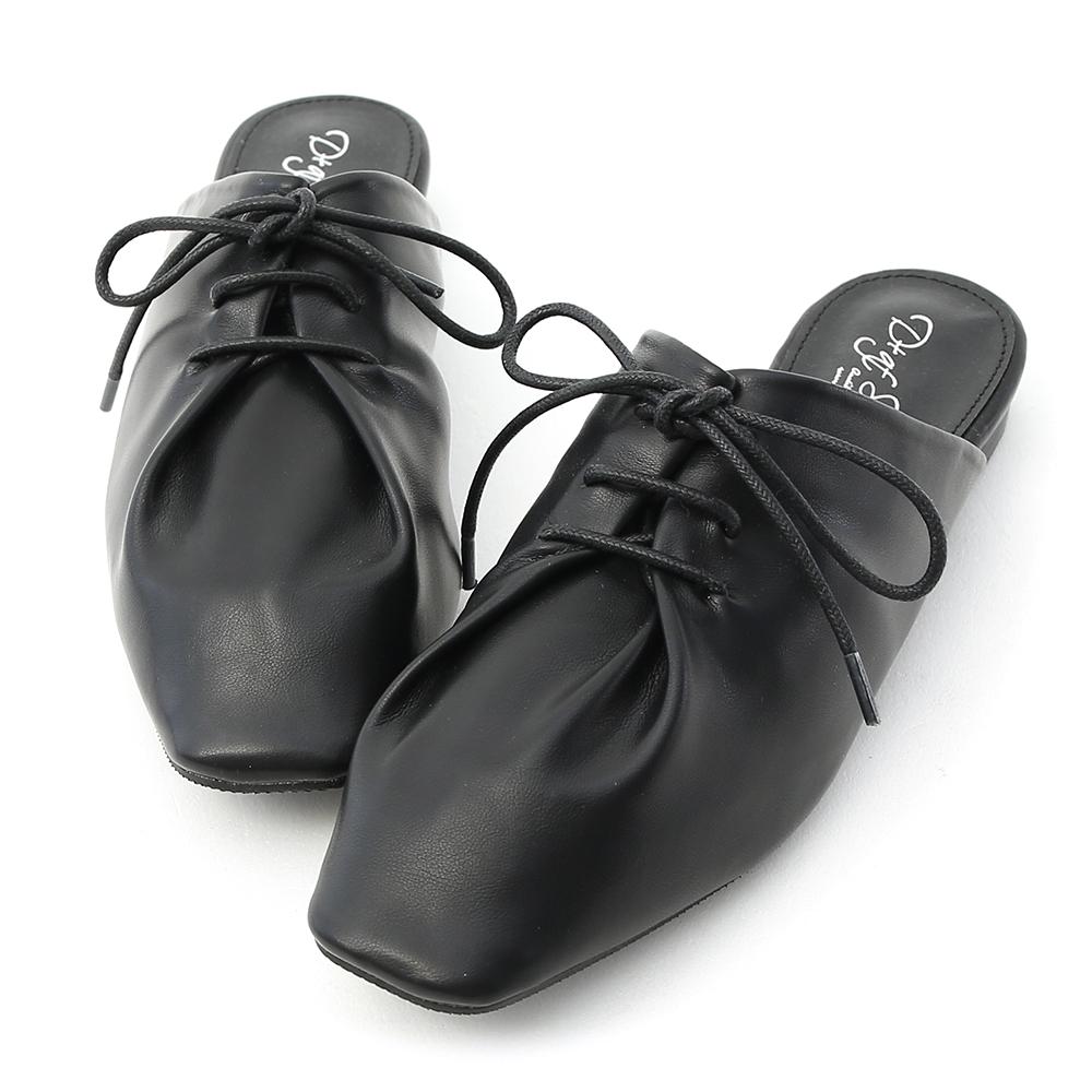 D+AF 品味生活.超軟皮革綁帶穆勒鞋*黑