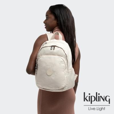 Kipling 香草棉花糖色上方拉鍊後背包-DELIA