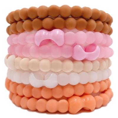 Pro Hair Tie 扣環髮圈8件組-莫蘭迪低彩桃粉