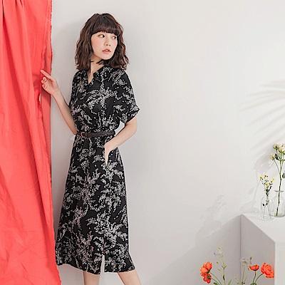 不易皺滿版印花微光澤長版襯衫/洋裝-OB大尺碼
