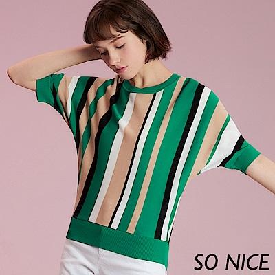 SO NICE氣質撞色條紋針織上衣