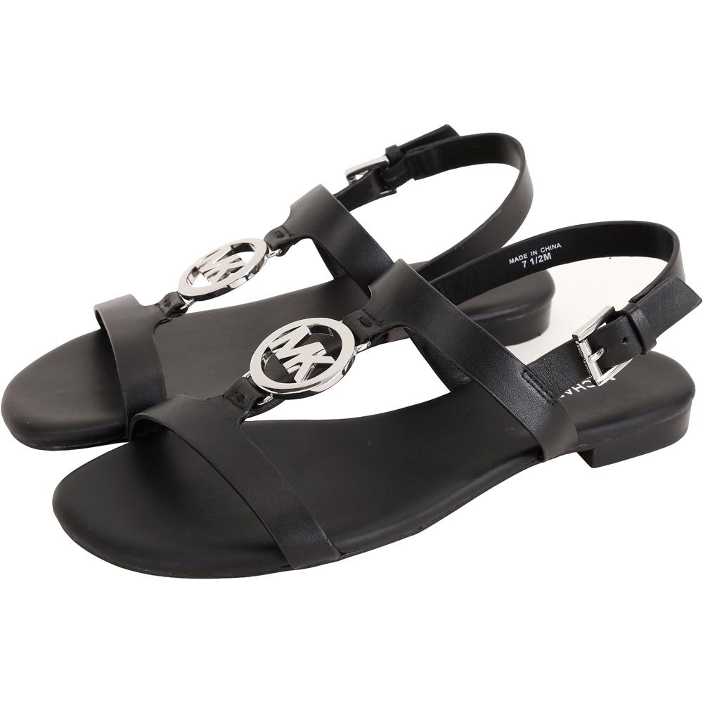 Michael Kors Beth 銀字牛皮平底羅馬涼鞋(黑色)