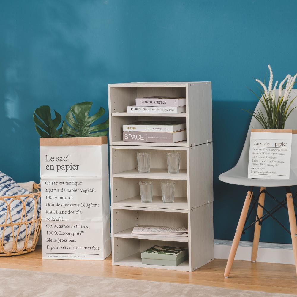 樂嫚妮 DIY 日式 二層收納櫃/空櫃/書櫃-層板可抽-木紋白色3入組-42X28.2X28.8cm