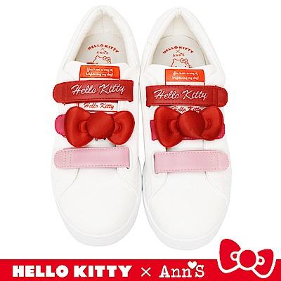 HELLO KITTY X Ann'S粉紅漸層三條魔鬼氈立體蝴蝶結2WAY球鞋-白