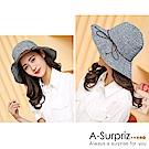 A-Surpriz 素雅橫紋仿皮繩蝶結遮陽布帽(黑灰)