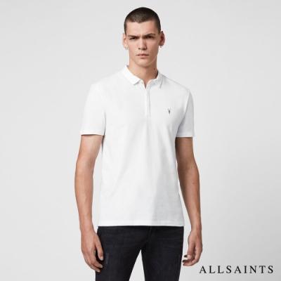 ALLSAINTS BRACE 素面修身純棉短袖POLO衫-白