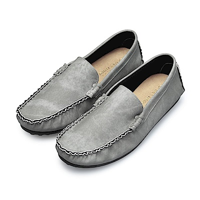 BuyGlasses 渲染手縫雅痞懶人鞋豆豆鞋-灰