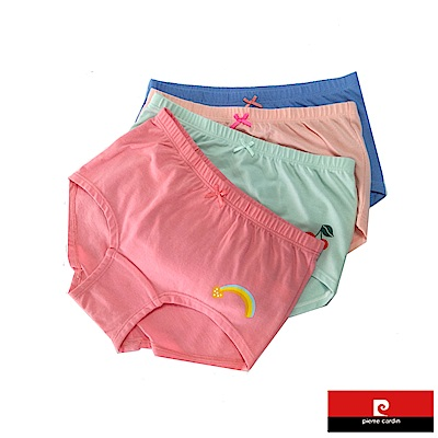 皮爾卡登 女兒童素色塗鴉平口褲-混色4件組(127003-2)