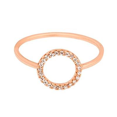 SHASHI 紐約品牌 Circle Pave鑲鑽圓滿圈圈戒指 925純銀鑲玫瑰金