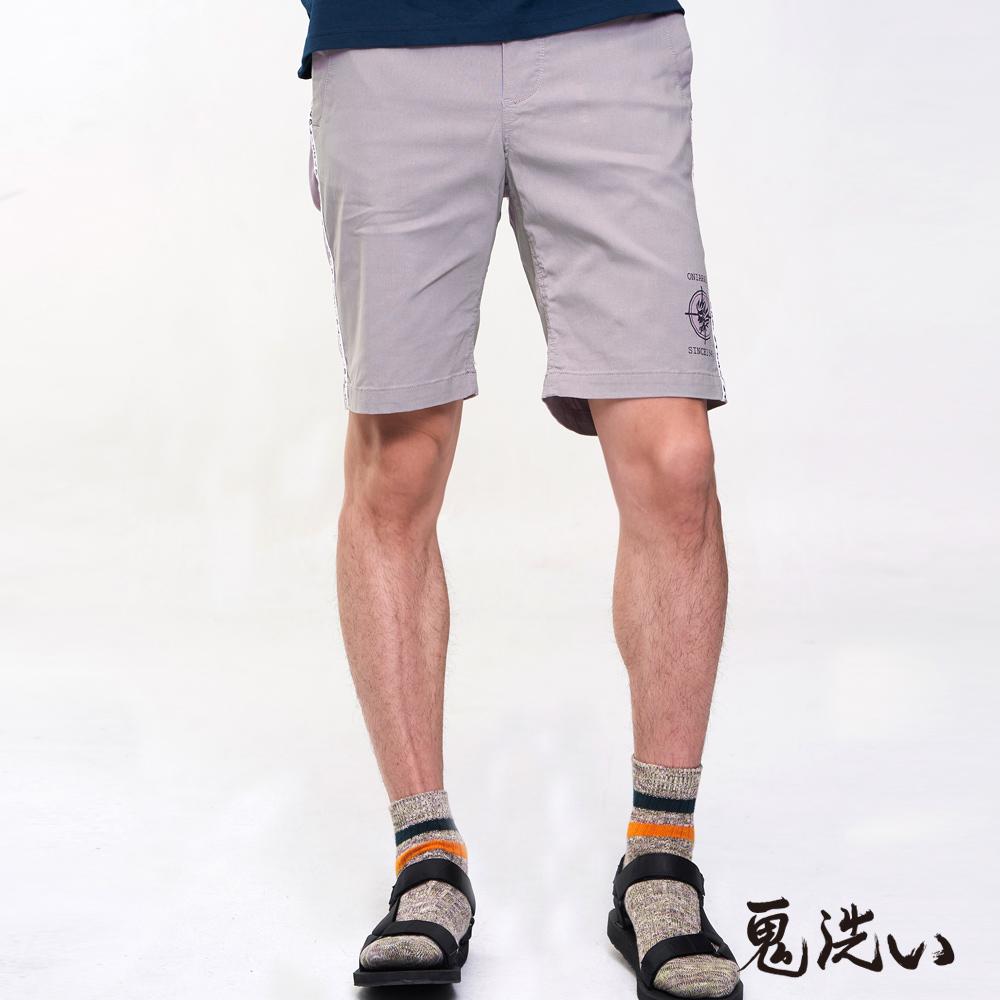 鬼洗 BLUE WAY 潮流鬼洗-潮流鬼洗細織帶吸排短褲(淺粉)