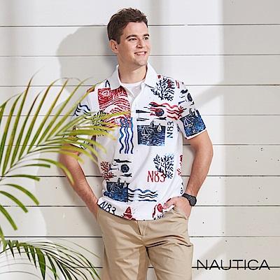 Nautica 繽紛造型圖騰短袖POLO衫-白