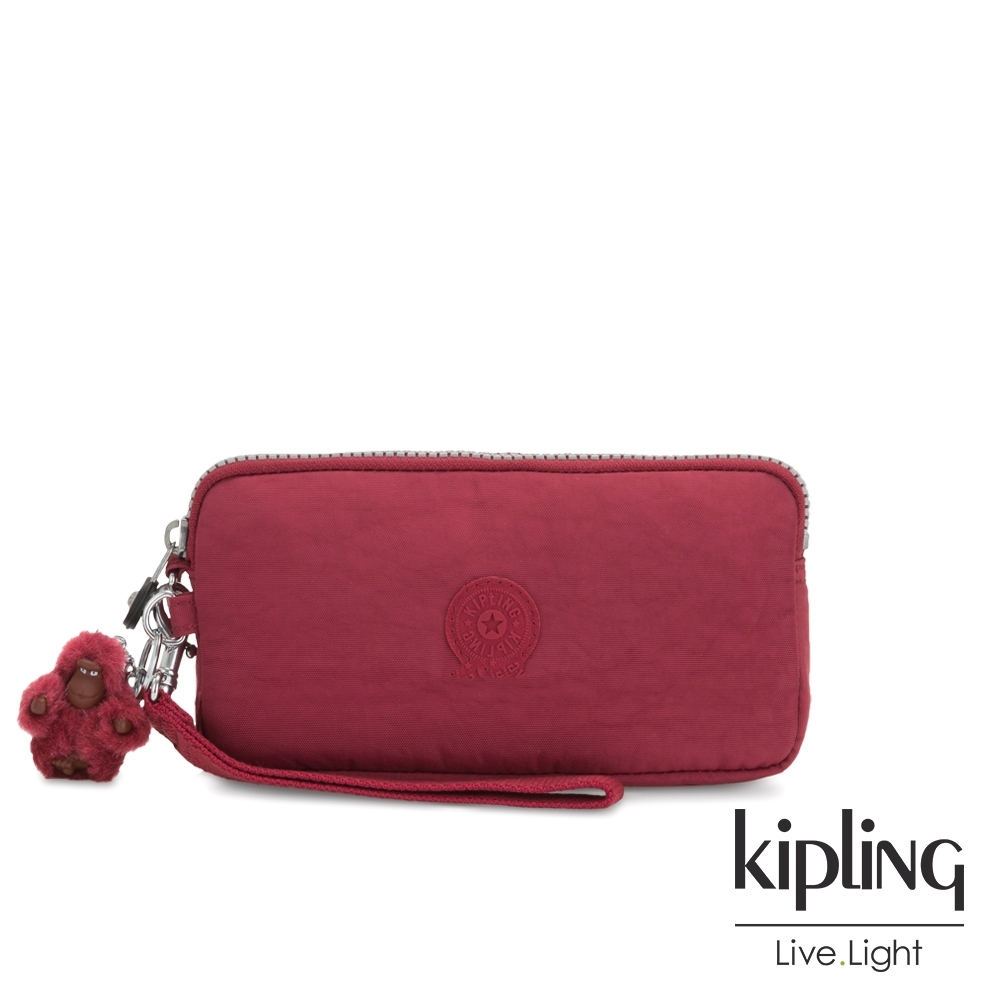 Kipling 經典百搭棗紅色手拿包-LOWIE