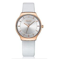 JULIUS聚利時 專屬誓言簡約時尚皮錶帶腕錶-優雅白/31.5X34mm