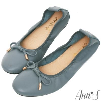 Ann'S柔軟夢境-金墜蝴蝶結全真皮平底娃娃鞋-灰藍
