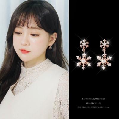 梨花HaNA 韓國925銀針玫瑰金雪花片片耳環