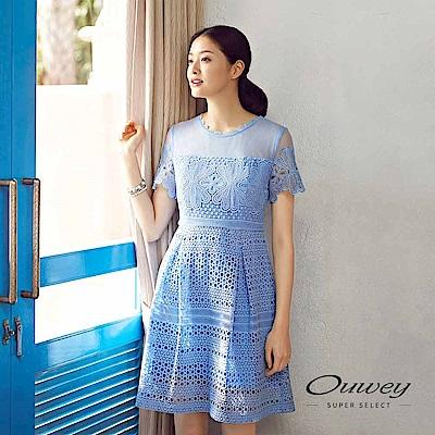 OUWEY歐薇 花朵縷空水溶蕾絲短袖洋裝(水)