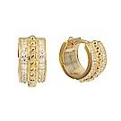 apm MONACO法國精品珠寶 閃耀鑲鋯復古寬版圓弧造型金色耳環