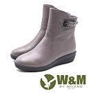 W&M 素面釦飾 拉鍊坡跟短靴 女鞋 - 藕灰(另有黑)
