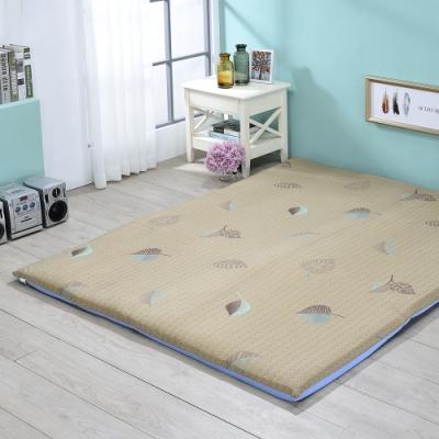 戀香 5X6尺雙人舒柔透氣可折疊棉床墊(米色葉子) 床 床墊 折疊床墊