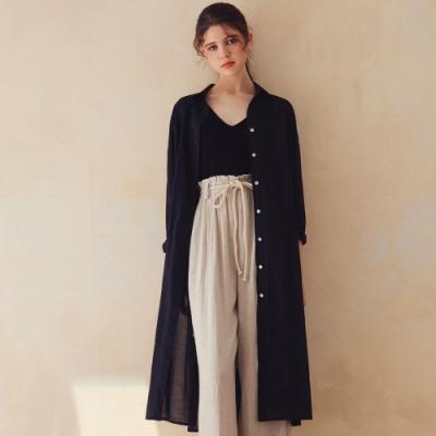 AIR SPACE LADY 排釦造型開衩長版襯衫(黑)