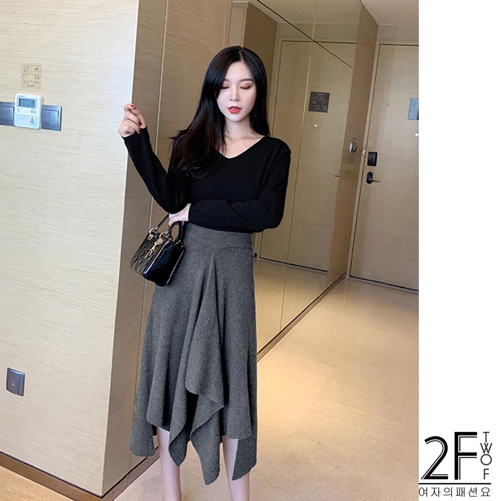 2F韓衣-復古不規則長裙-灰F