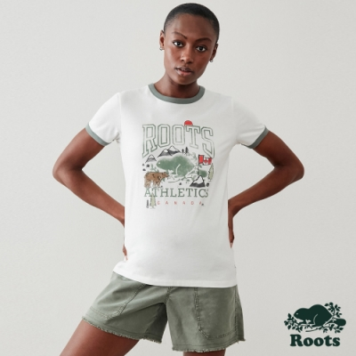 Roots 女裝- 加拿大元素短袖T恤-白色