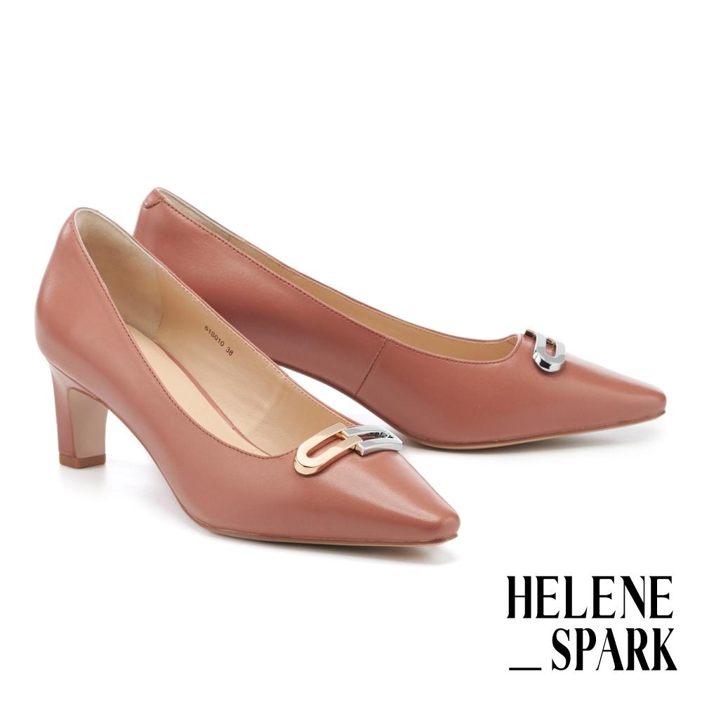 高跟鞋 HELENE SPARK 都會時尚雙色金屬釦小方楦高跟鞋-棕
