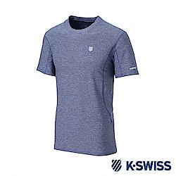 K-SWISS  PF Melange Tee排汗T恤-男-藍