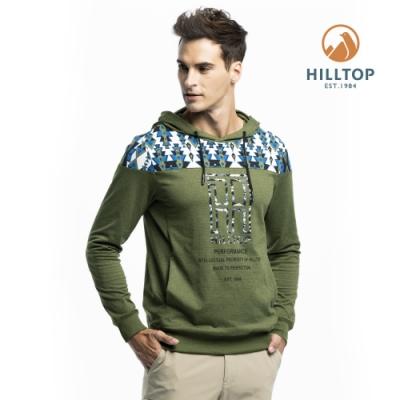 【hilltop山頂鳥】男款吸濕快乾彈性保暖抗菌上衣H51MI3橄欖綠
