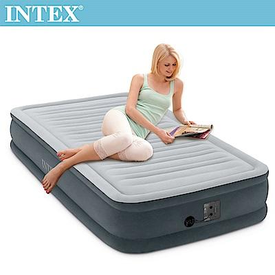 INTEX 豪華型橫條內建電動幫浦充氣床-單人99cm(67765)