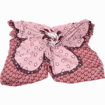 COACH 星星圖騰大型莫代爾羊絨披肩式圍巾(粉色)