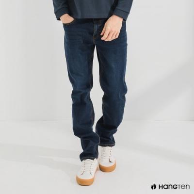 Hang Ten-男裝-環保再生紗-經典款STRAIGHT FIT直筒中腰丹寧褲-深藍色