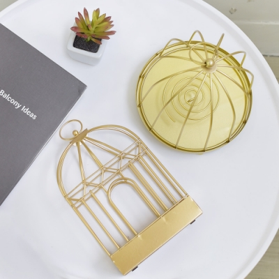 Meric Garden 復古創意手工金屬蚊香盤/薰香盤/小物收納盤(金色房子)