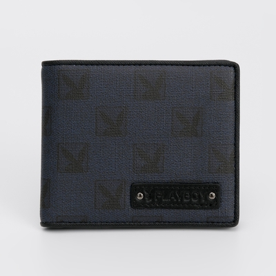 PLAYBOY - 短夾附拉鍊零錢袋  PZG (方塊遊戲)系列 - 深藍色