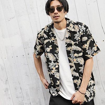 短袖襯衫滿版印花開領(5色) ZIP日本男裝