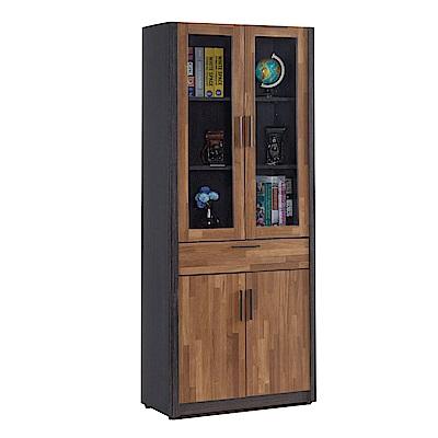 文創集 多柏斯時尚2.7尺木紋四門書櫃/收納櫃-80x39x190cm免組