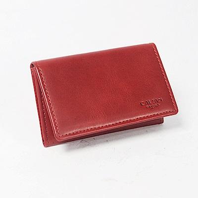 CALTAN-橫式名片夾 卡片夾 真皮小物 牛皮 上翻式皮件-1801cd-red
