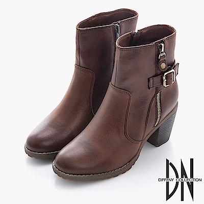 DN 美式風格 率性拉鍊中跟軍短靴-棕