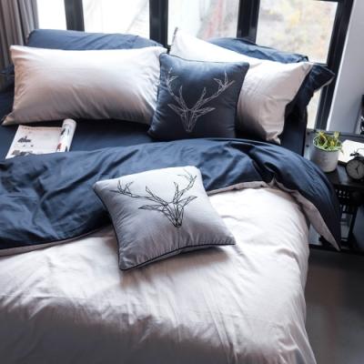 OLIVIA  GRAY X NAVY 標準雙人床包被套四件組 200織精梳純棉 台灣製