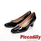 Piccadilly 經典優雅 粗跟中跟女鞋-亮面黑(另有霧面藍)
