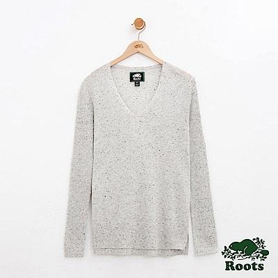女裝-Roots V領針織衫-灰