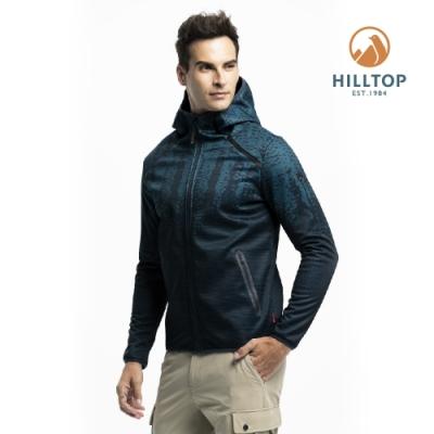 【hilltop山頂鳥】男款SOFTSHELL防風透氣保暖印花外套H22MX9藍綠印花