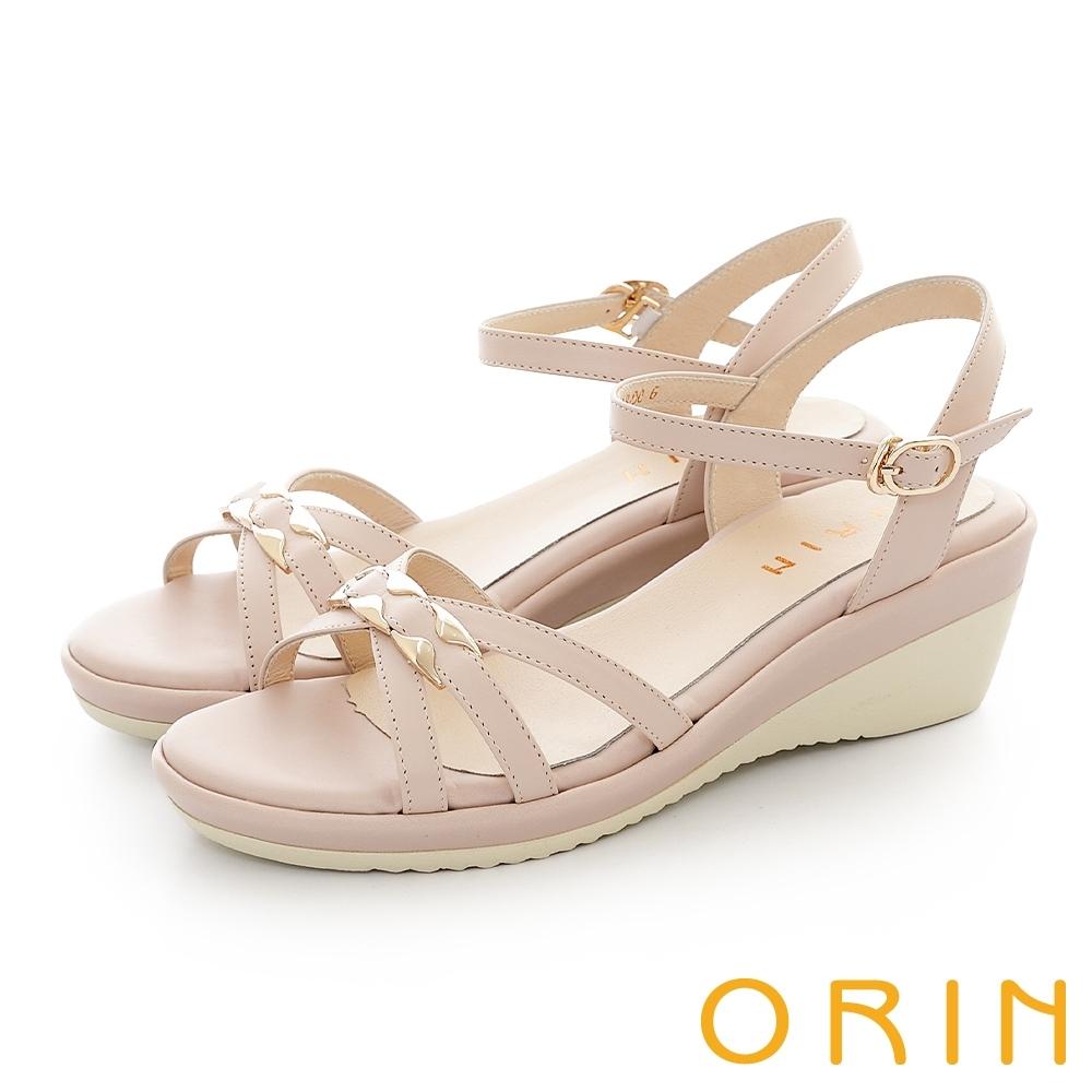 ORIN 金屬造型花邊點綴牛皮楔型 女 涼鞋 裸色