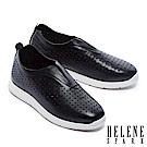 休閒鞋 HELENE SPARK 隨性簡約沖孔設計全真皮厚底休閒鞋-黑