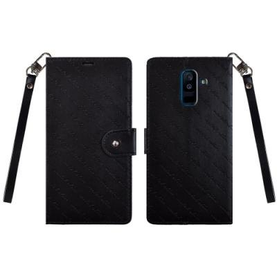 Metal-Slim Samsung Galaxy A6+全面斜壓紋掛飾磁扣TPU皮套