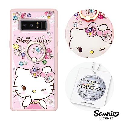 三麗鷗 Kitty Samsung Note8 施華彩鑽減震指環扣手機殼-寶石凱...